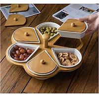 Khay bánh mứt, đựng thức ăn nhẹ bằng sứ loại 6 ngăn, xoay 360 mang phong cách Bắc Âu