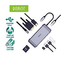 [HÀNG CHÍNH HÃNG] HUB Chuyển Đổi 9in1 ROBOT HT490 cổng kết nối USB 3.0/2.0/ HDMI/PD/SD/TF/PD/VGA/Ultra HD 4K