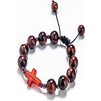 Vòng Chuỗi Mân Côi đá mắt hổ đỏ 10mm mix ngọc hồng lựu và Thánh Giá mã não đỏ TIGR01 - VIETGEMSTONES