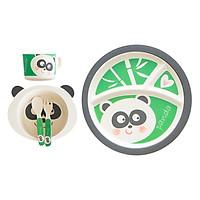 Bộ Dụng Cụ Ăn Uống Bằng Sợi Tre Cho Bé Bamboo Dish Panda Binggio