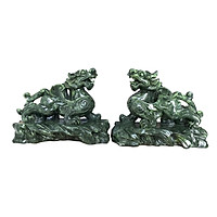 Cặp Tượng Đá Trang Trí Tỳ Hưu Phong Thủy - Màu Xanh Lục Bích