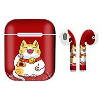 Miếng dán skin chống bẩn cho tai nghe AirPods in hình Mèo Thần Tài - TTD - x008 (bản không dây 1 và 2)