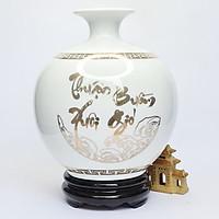 Bình Hút Lộc Gốm Sứ Trắng Vẽ Vàng - Thuận Buồm Xuôi Gió - S2 - Mx