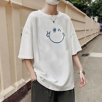 Áo thun mặt cười Unisex JPA in UK basic tee mùa hè phông trơn nam nữ tay lỡ oversize form rộng phong cách đường phố