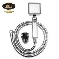 Bộ tay dây sen siêu tăng áp vuông Eurolife EL-113SH (Trắng bạc)