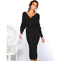 New Sexy V-neck Women Dress Autumn Winter Long Sleeve Bandage Dress Lady Slim Tight High Streetwear Dress