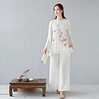 Trang phục đi lễ chùa tập thiền & yoga, tụng kinh, tập khí công, múa cổ trang cổ tròn trắng cánh hoa Thiền Chay