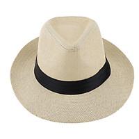 Men Women Straw Panama Hat Fedora Trilby Cap Sombrero Sunhat Wide Brim