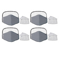 4x Cotton Face Mask Reusable Cycling Mask Safety Protection Eye Mask - Gray
