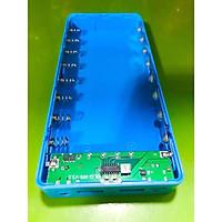 Box sạc dự phòng không pin 8 cell 18650 có cổng Type-C màu xanh dương