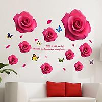Decal dán tường hoa hồng đỏ mẫu 3 - HP95