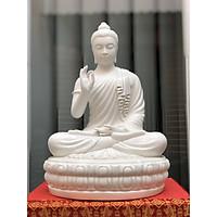 Tượng Phật Bổn Sư Niêm Hoa Vi Tiếu Sứ trắng 35cm