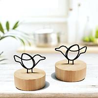 2 kẹp trang trí hình chim đế gỗ