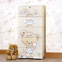 Tủ nhựa 5 ngăn cao cấp 85 x 36 x 33 cm tặng kèm 10 nút bịt ổ điện an toàn cho bé