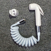 Đầu vòi xịt vệ sinh tăng áp nhựa ABS màu trắng - Dây mềm cho vòi xịt vệ sinh uốn hình lò xo bằng nhựa PU dài 1M  A35-1