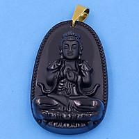 Mặt dây chuyền Phật Như Lai Đại Nhật thạch anh đen 5cm - Phật bản mệnh tuổi Mùi, Thân