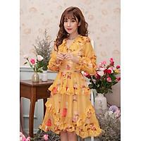 Váy tơ lụa cao cấp thiết kế hoa vàng