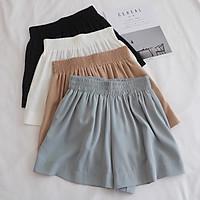 Quần short nữ,quần đùi nữ lưng cao cạp chun 2 túi thật chất lụa