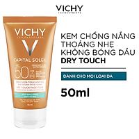 Kem Chống Nắng Không Gây Nhờn Rít Không Màu SPF50  Vichy Capital Soleil SPF50 Face Dry Touch (50ml) -100516689