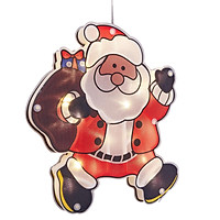 Christmas Hanging Lights LED Window Lights With Suction Cup Battery Powered LED Christmas Window Lamp Elk Snowmen Xmas