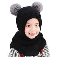 Cute Child Knitted Hat Autumn Winter Kids Hats Ball Girls Boys Children Warm Caps Scarf Set Baby Bonnet Scarves