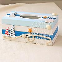 Hộp đựng khăn giấy bằng gỗ phong cách Địa Trung Hải - MA14201B