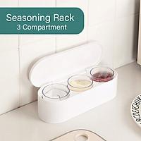 Seasoning Box Set Seasoning Rack 3 Compartment 3 Serving Spoons Spice Jar Seasoning Storage Container for Spice Salt
