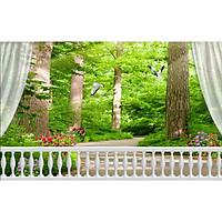 Tranh dán tường cửa sổ rừng xanh CS93(100x150cm)