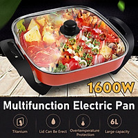 6L 1600W Non-stick Multifunction Frying Pan Electric Roasting Oven Hot Pot Food Steamer For Family Party Boiling/ Frying /Steaming/ Stewing