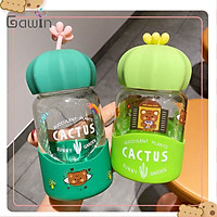Creative New Personality Cactus Glass Cute Water Cup Boys and Girls Portable Water Bottle