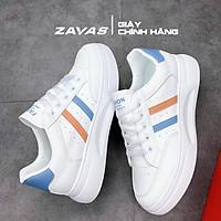 Giày thể thao nữ ZAVAS đế cao 3cm màu trắng bằng da không bong tróc mang êm chân S411 - Giày Sneaker Nữ Chính Hãng