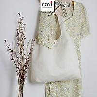 Túi tote đeo vai đeo chéo, túi vải canvas,vải bố Hàn Quốc có khóa kéo quai vuông, tròn thời trang COVI màu mộc T28