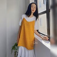 Đầm thun suông ngắn tay phối váy voan hai dây chấm bi cá tính Hàn Quốc ulzzang