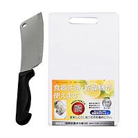 Combo Dao thái nhà bếp lưỡi vuông, có lỗ treo KAI + Thớt nhựa kháng khuẩn độ dày 1,3cm - Nội địa Nhật Bản