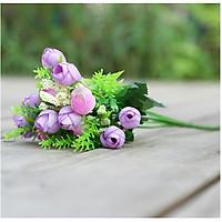 Hoa giả Chùm Hoa Hồng Trà 15 nụ bông Màu tím trang trí
