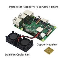 5V 0.3A Fan Cooling System Module with Heatsink for Raspberry Pi 3B/2B/B+, Dual Fan Cooler Fan