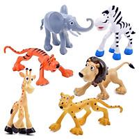 Bộ 6 Mô Hình nhân vật phim Madagascar (hổ, voi, ngựa vằn, hươu cao cổ, báo, sư tử) - đồ chơi trẻ em