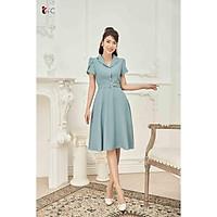 Đầm xòe cổ 2 ve, tay bồng Tri'C Luxury A23921 Xanh mint