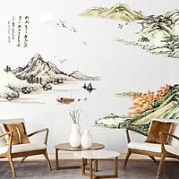 Decal dán tường non nước hữu tình trang trí phòng sang trọng size lớn
