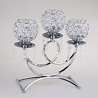 Vintage Christmas Home Holiday Decoration Silver/Gold Crystal Candle Holders with 3 Arms Candelabra for Wedding Dining Coffee Table Decoration