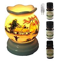 3 tinh dầu (Sả chanh, bạc hà, cà phê) Eco 10ml và đèn xông tinh dầu MNB03 và 1 bóng đèn