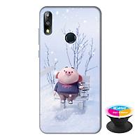 Ốp lưng điện thoại Asus Zenfone Max Pro M2 hình Heo Con Trượt Tuyết tặng kèm giá đỡ điện thoại iCase xinh xắn - Hàng chính hãng