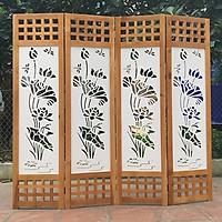 Bình phong khung gỗ nền hoa sen