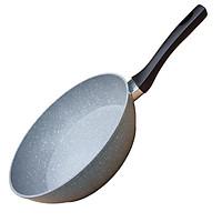 Chảo vân đá chống dính đáy từ sâu lòng GREEN COOK GCP02-28IHB 28 cm tay cầm chịu nhiệt màu đen - Hàng chính hãng