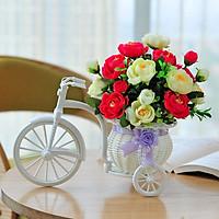 Giỏ hoa xe đạp trang trí kệ tủ độc đáo, bông giả cắm sẵn nhiều mẫu