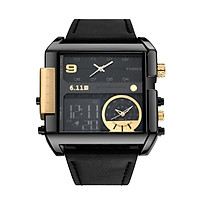 6.11 Men Leather Band Rectangle Dial Analog Quartz Watches 3 Time Zones Waterproof Electronic Wristwatch
