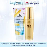 Bộ đôi serum dưỡng da giảm nám tàn nhang Hàn Quốc Lagivado  Natin Ceutic 50 ml và sữa rửa mặt Creamy Foam 50ml