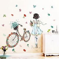 Decal dán tường Cô gái xe đạp mẫu 4 - HP109