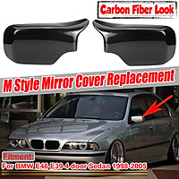 Carbon Look M Style Side Door Mirror Cover Cap For BMW E46 E39 Sedan 1998-2005