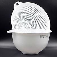 3 bộ chậu rửa và rổ nhựa 1,5L ( màu trắng ) - Hàng nội địa Nhật